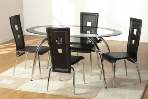 Home Essence Montrose 5 Piece Dining Set with Black Undershelf