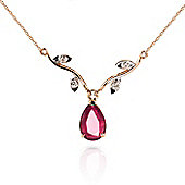 QP Jewellers 20in 1.15mm Vine Ripe Necklace with Diamond & Ruby Pendant in 14K Rose Gold