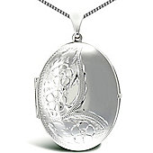 Jewelco London Sterling Silver Oval shapefloral pattern Locket Pendant - 18 inch Chain