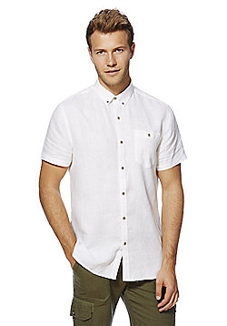 F&F Contemporary Fit Short Sleeve Linen Shirt - White
