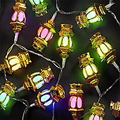 3.9m Set of 40 Outdoor or Indoor Multi-Colour Gold Lantern LED Lights