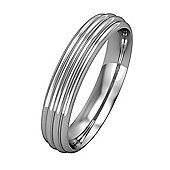 Jewelco London 9ct White Gold - 4mm Essential Court-Shaped Ribbed Band Commitment / Wedding Ring -