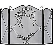 Fire Screen Black with Leaf Detail