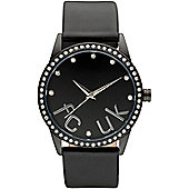 French Connection FCUK Ladies Leather Stone Set Watch FC1053BB