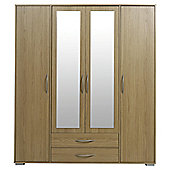 Newport 4 Door 2 Drawer Wardrobe With Mirror Oak