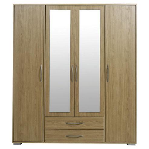Newport 4 Door 2 Drawer Wardrobe With Mirror Oak