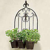 Versailles - Metal Triple Pot Garden Wall Planter - Black / Bronze