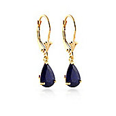 QP Jewellers 3.0ct Sapphire Belle Leverback Earrings in 14K Gold