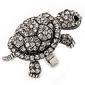 Large Crystal Turtle Ring In Burn Silver Metal