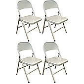 Pack of 4 Chairs - White Metal Folding Office, Computer, Desk Chairs