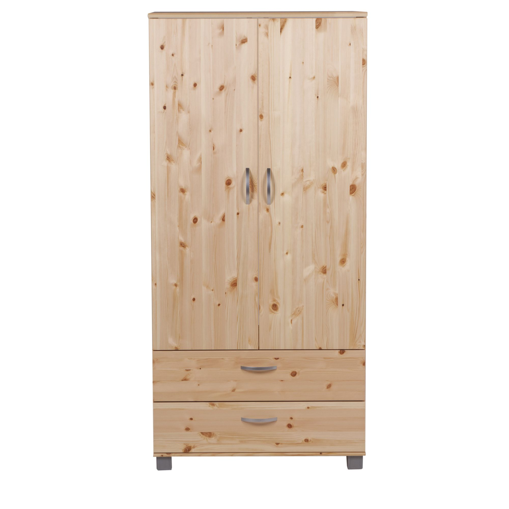 Thuka Trendy Two Door Two Drawer Wardrobe - White - Black at Tesco Direct