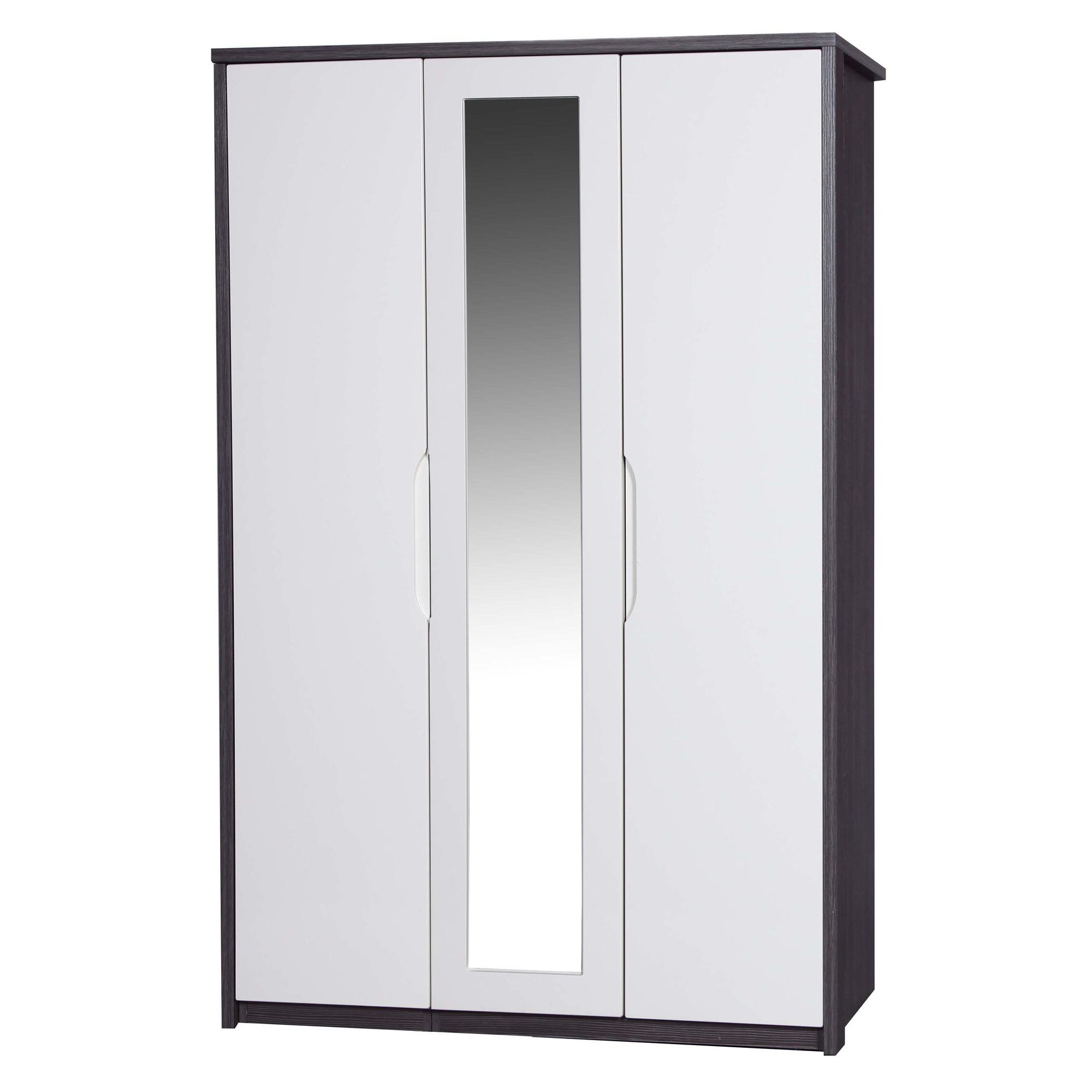 Alto Furniture Avola 3 Door Wardrobe with Mirror - Grey Avola Carcass With Cream Gloss at Tesco Direct