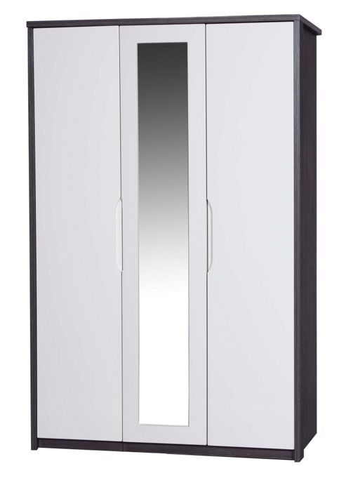 Alto Furniture Avola 3 Door Wardrobe with Mirror - Grey Avola Carcass With Cream Gloss