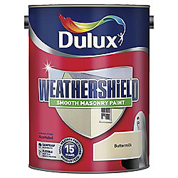 Dulux Weathershield Smooth Masonry Paint, Buttermilk, 5L