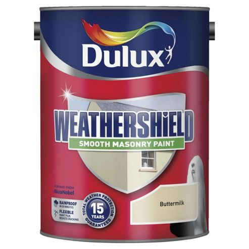 Dulux Weathersheild Smooth Masonry Paint, Buttermilk, 5L