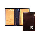 Brown Leather Men's Travel Card Holder with Barry Bulldog