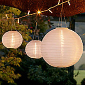 Set of 3 Warm White LED Solar Chinese Lanterns