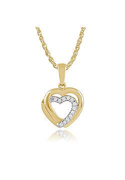 Gemondo 0.06ct Diamond Hearts Pendant on Chain in 9ct Yellow Gold