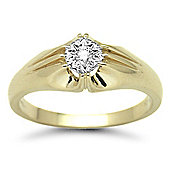 Jewelco London 9 Carat Yellow Gold 10pts Gents Single Stone Diamond Ring