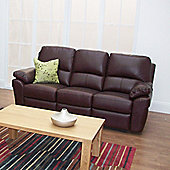 Furniture Link Monzano Three Fixed Seat Sofa in Chestnut - Chestnut