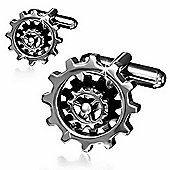 Urban Male Two Colour Stainless Steel Gear Wheel Cufflinks