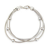Jewelco London Sterling Silver - Bead - Bracelet - 7.5in/18.5cm