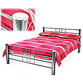 Silver Grille Style Metal Bed Frame - Small Double 4ft
