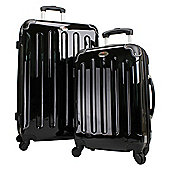 Swiss Case 4 Wheel Hard 2Pc Suitcase Set Black
