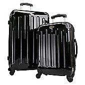 Swiss Case Hard Shell 4-Wheel Suitcase, Black Set of 2