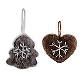 Woollen Snowflake Hanging Heart & Tree Christmas Decorations