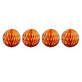 Pack of Four Orange 10cm Honeycomb Retro Pom Pom Decorations