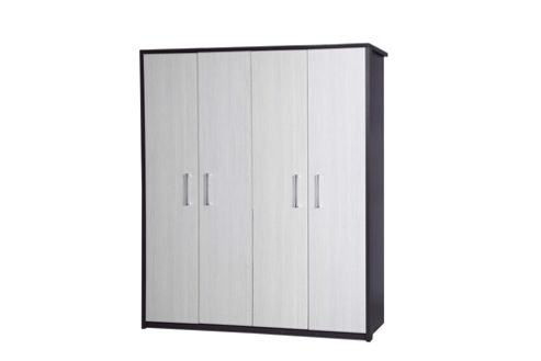 Alto Furniture Avola 4 Door Wardrobe - Grey Carcass With White Avola