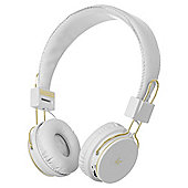 Kitsound Metallics Manhattan Bluetooth White and Gold Headphones