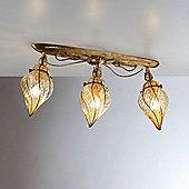 Siru Vecchia Murano Three Light Ceiling Lamp - Amber Scavo
