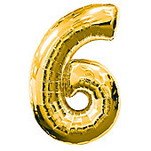 Gold Number 6 Balloon - 34' Foil (each)