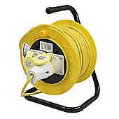 Silverline Cable Reel 110V Freestanding 2 Socket 16A 25m