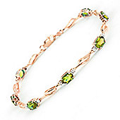 QP Jewellers 7.5in Diamond & Peridot Classic Tennis Bracelet in 14K Rose Gold