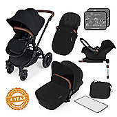 Ickle Bubba Stomp v3 AIO Travel System + Isofix Base, Mosquito Net & Cup Holder - Black (Black Chassis)