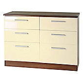 Welcome Furniture Knightsbridge 6 Drawer Chest - Cream - Ebony