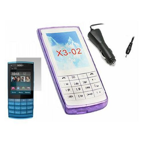 Purple ProGel Case, LCD Protector, Car Charger, In Car Holder - Nokia X3 O2