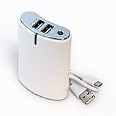 Power Bank 8800mAh in White with 2 USB outputs - 1A and 2.1A
