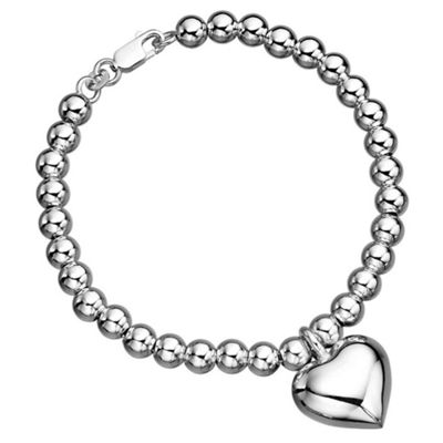 Sterling Silver Ball Bracelet with Heart Charm - 19cm