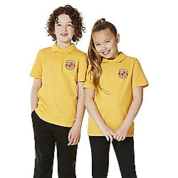 Unisex Embroidered School Polo Shirt years 05 - 06 Yellow Gold