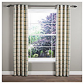 Tropical Check Lined Eyelet Curtains - Aqua