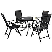 Cayman 6pc Black Round Recliner Set - 102cm Anthracite Table, 4 Recliner Chairs and 2.5m Parasol