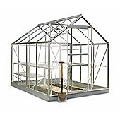 Halls Popular Greenhouse – 6x8 - Natural Aluminium Finish + Base + Rhino Ventilation Bundle – Toughened Glass