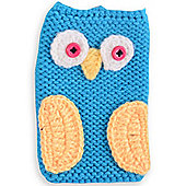Quirky Bird Knitted Character Handy Phone Cover - Blue Owl