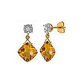 QP Jewellers Diamond & Citrine Deflection Stud Earrings in 14K Gold