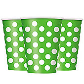 Green Polka Dot Cups - 340ml Paper Party Cups
