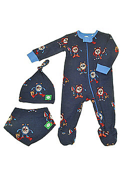 Zippy Suit Set (Zip Up Sleepsuit with Beanie Hat and Absorbent Bib) - Blue